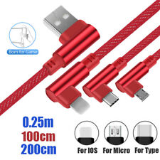 Micro USB Cable 90 Degrees IOS Type C Denim Cable For Samsung Galaxy S9 S10 Plus