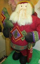 "Decorative Standing 19"" Santa Plush Figurine Christmas By Costco All Wool Beard"
