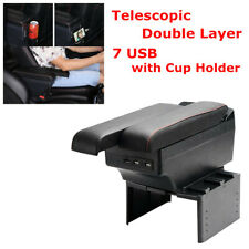 Car Telescopic 2 Layers 7 USB Charge Armrest Box Storage Cup Holder Fit for MBW