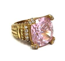 Judith Ripka Fontaine Diamond Pink Crystal 18k Yellow Gold Ring Size 5
