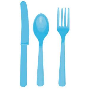Grillbesteck Set mit Messer Löffel Gabel 24-tlg hellblau Tischdeko Einwegbesteck