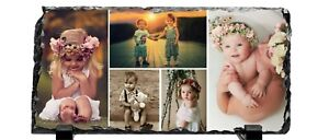 Personalised Natural Rock Slate Collage 5 Photos-Glossy Finish