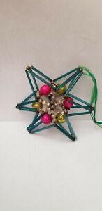 ANTIQUE GEOMETRIC STAR BEADED 3-D MERCURY GLASS CHRISTMAS ORNAMENT