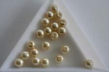 Ecru Glass Pearl beads. 6mm. 80 beads. #3723