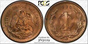 1936-Mo Mexico Estados Unidos Mexicanos 1C PCGS MS64RD POP 9 ONLY 4 HIGHER