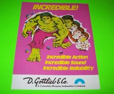 Gottlieb Marvel's The Incredible Hulk Original Nos 1979 Pinball Machine Flyer