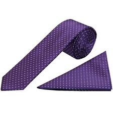 Purple and White Polka Dot Skinny Men/'s Tie Handkerchief Set wedding Prom Tie