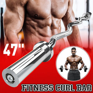 """47"""" Olympic Curl Bar Weight Lifting Barbell Fitness Equipment Chrome Steel"""