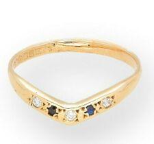 9Ct Yellow Gold Sapphire & Simulated Diamond Wishbone Eternity Ring (Size N 1/2)