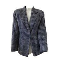 Vintage Austin Reed Petites Womens Tweed Wool Silk Blend Blazer Jacket Size 8