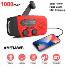 Emergency Solar Hand Crank Weather Radio AM/FM/WB w/LED Flashlight Phone Charger