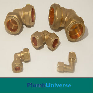 BRASS Elbow Compression -6mm - 8mm - 10mm - 15mm - 22mm  - 28mm - Plumbing