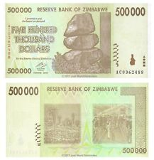 Zimbabue 500,000 dólares 2008 P-76b rara forrada de papel emitir billetes UNC