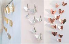12pcs Metallic Gold Silver 3D Butterflies Wall Stickers Home Decor