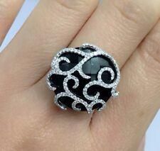 14k Solid White Gold Black Onyx With Genius Diamond Ring 0.51 CT, Sz 6.75. $1900