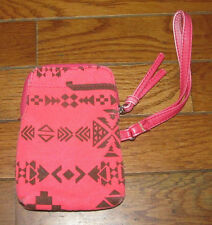 Target Store Pink & Black Geometric Design Canvas Wristlet CellPhone Credit Card