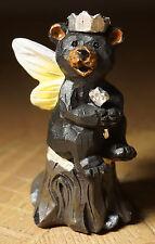 BLACK BEAR FAIRY GARDEN PRINCESS CUB WINGS TIARA & WAND Lodge Cabin Figurine NEW