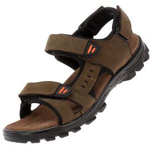 Herren Leder Sandalen Übergröße Trekking Outdoor Freizeit Schuhe Braun 20866