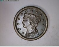 1853 Braided Hair Large Cent 1c old penny  ( # 80s97 )