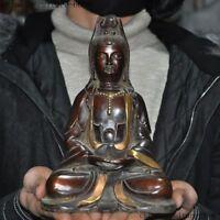 """8""""  China Bronze Gilt Buddhism Temple Kwan-yin Guanyin Bodhisattva Buddha statue"""