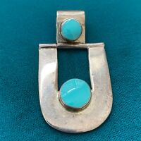 Vintage Sterling Silver 925 Mexico Turquoise Drop Pendant Signed HOB