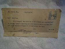 1918 CHICAGO & NORTHWESTERN RAILROAD TELEGRAM,Wyeville Wi,eau claire,train,il
