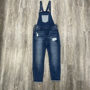 Celebrity Pink Distressed Blue Denim Overalls Bibs Womens Size 7/28 Raw Hem Legs