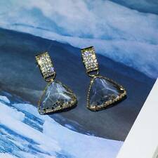 Korean Personality Dangle Earring Simple Flash Crystal Triangle Earrings