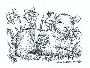 Spring Lamb And Daffodils NORTHWOODS Wood Mounted Rubber Stamp NEW M10747