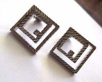 boucles d'oreilles carrées clips bijou vintage couleur argent cristal *3516