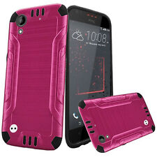 For HTC Desire 530 Combat Brushed Metal HYBRID Rubber Case Cover +Screen Guard