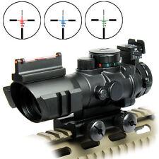Tactical Illuminated 4X32 R/G/B BDC Optics Rifle Scope Sight&Red Fiber 20mm Rail