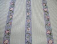 Vtg Waverly Daisy Lane  Decor Fabric Cotton Lavender & Green Floral Stripes BTY