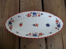 Vintage Wurttemberg Germany Oval Platter Dish Orange Rust Blue Floral 12-5/8 EUC