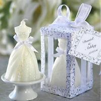 White Elegant Boxed  Bridal Bride Gown Dress Design Candle Wedding Party Decor