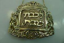 JUDAICA LICHVOD SHABBAT SILVER WINE BOTTLE LABEL WITH RAISED LIONS DECORATION