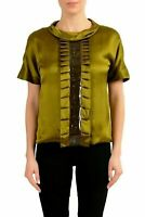 Maison Margiela 1 100% Silk Green Short Sleeve Women's Blouse Top US S IT 40