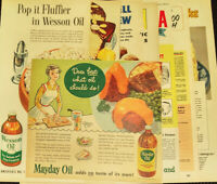 Vintage Print Ad Cooking Oil - Lot of 6 ads, Kraft, Mayday, Wesson, Mazola, 50s
