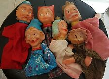 Lot de 6 Marionnettes théâtre guignol ancienne à main