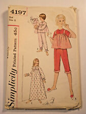 S-4197 VTG Pajamas & NightGown Sewing Pattern Simplicity Girl Size 8 Complete