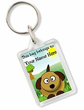 Personalised Kids Childs School Bag Tag Keyring Any Name With Dog Design AK85