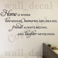 Home Is Where Love Resides Memories Friends Wall Decal Vinyl Sticker Quote Decor