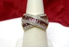 14K YELLOW GOLD CRISS CROSS WIDE BAND WITH DIAMONDS AND AMETHYST STONES SZ 7.25!