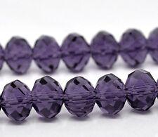 35 PURPLE 12mm CRYSTAL GLASS ~5040~ RONDELLE BEADS ~ Bracelets~Necklace (41F) UK
