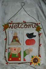 RUSTIC WOODEN WELCOME FALL THANKSGIVING DECORATION PLAQUE SIGN HANGING