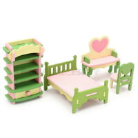 Retro Doll House Miniature Bedroom Wooden Furniture Set Pretend Play Kids To