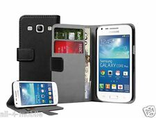 Wallet BLACK Leather Case Cover for Samsung Galaxy Core Plus SM-G350 / G3502