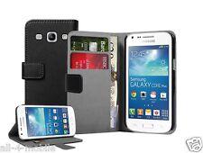 PORTAFOGLIO NERO Pelle Custodia Cover per Samsung Galaxy Core Plus SM-G350 / G3502