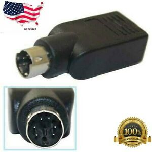 PS2 Male to USB Female Mouse Converter Connector Coupler Adapter Black