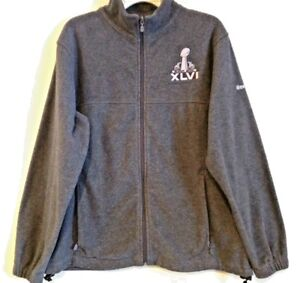 REEBOK Gray Fleece Jacket Super Bowl XLVI Indianapolis Colts 2012 Unisex Size: S